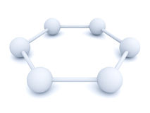 3d white hexagonal molecular structure model. Over white background with shadow Stock Illustration
