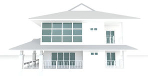 3D white house architecture exterior design in white background Royalty Free Stock Photos