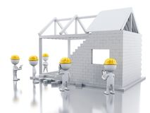 3d White house under construction with builders. 3d illustration. House under construction with builders. Construction concept. Isolated white background Royalty Free Stock Photos