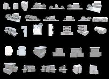 3d white houses collection part one Stock Photos