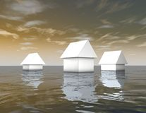 3d white houses under water, natural catastrophes abstract illustration. Royalty Free Stock Photos