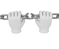 3d white human hand breaks the chain 3d. White background. Stock Photography