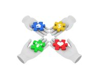 3d white human hand connecting colored puzzles with symbols. 3D Stock Images