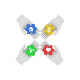 3d white human hand connecting colored puzzles with symbols. 3D Royalty Free Stock Photo