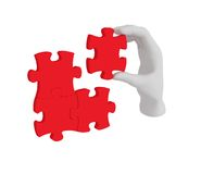 3d white human hand connecting puzzle 3d. White background. Royalty Free Stock Image