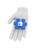 3d white human hand holds blue puzzle with symbol. 3D illustrati Stock Photo