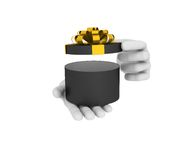 3d white human hand holds open black gift box. 3D illustration . White background Royalty Free Stock Images