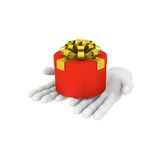 3d white human hand holds red gift box. 3D illustration . White Stock Image