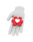 3d white human hand holds red puzzle with symbol. 3D illustratio Stock Images