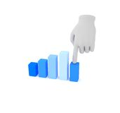 3d white human hand over graph. White background. 3d white human hand over graph Royalty Free Stock Photography