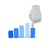 3d white human hand over graph. White background. Royalty Free Stock Photography
