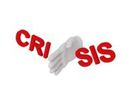 3d white human hand smashes the word crisis 3d. White background Stock Photo