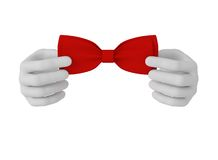 3d white human hand straightens bow tie . White background. Stock Image