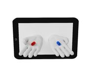 3d white human hands holding red and blue pills of the screen la. Ptop Royalty Free Stock Photography