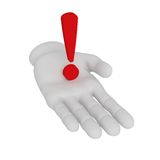 3d white human open hand holds exclamation mark . White backgrou. 3d white human open hand holds exclamation mark Stock Photos