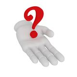 3d white human open hand holds question mark . White background. 3d white human open hand holds question mark Royalty Free Stock Photos