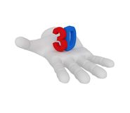 3d white human open hand holds a symbol 3d. White background. 3d white human open hand holds a symbol 3d Royalty Free Stock Image