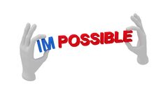 3d white human open hand holds a word impossible. White backgrou. 3d white human open hand holds a word impossible Royalty Free Stock Photography