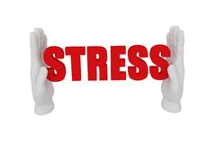 3d white human open hand holds a word stress. White background. 3d white human open hand holds a word stress Royalty Free Stock Photo