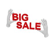 3d white human open hand holds a words big sale. White backgroun. 3d white human open hand holds a words big sale Royalty Free Stock Photography