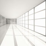 3d white interior with bright windows and concrete walls Royalty Free Stock Image