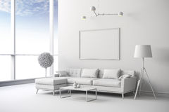 3d white interior room setup Royalty Free Stock Photography