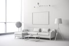 3d white interior room setup Royalty Free Stock Photos
