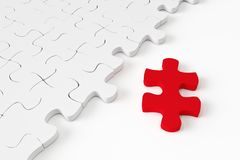 3d White jigsaw puzzle. On white background Royalty Free Stock Photo
