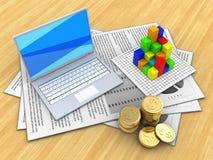 3d white laptop Stock Image