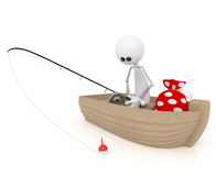 3d white little man fisherman. Stock Images