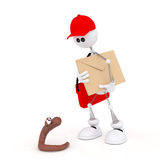 The 3D white mail carrier on springs. Stock Photo
