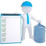 3d white man with a big bottle of water Royalty Free Stock Photos
