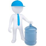 3d white man with a big bottle of water Stock Image