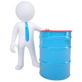 3d white man and a blue barrel Stock Images