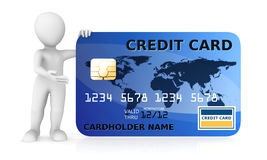 3d white man with blue credit card. 3d illustration Royalty Free Stock Photography