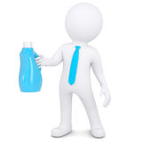 3d white man with bottle of household chemicals. 3d white man with a bottle of household chemicals. Isolated render on a white background Royalty Free Stock Photography