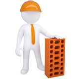 3d white man with a brick. Isolated render on a white background Royalty Free Stock Images