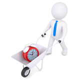 3d white man carries wheelbarrow of alarm clock. 3d white man carries a wheelbarrow of alarm clock. Isolated render on a white background Stock Photo