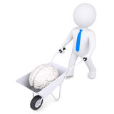 3d white man carries a wheelbarrow of brain Royalty Free Stock Photos