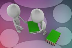 3d white man carry  books illustration Stock Image