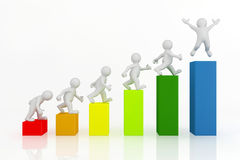 3d white man character and business graph. Stock Photo