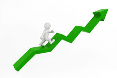 3d white man character and business graph. Stock Photos