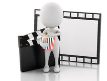 3d white man with cinema clapper, popcorn and film reel. 3d illustration. White man with cinema clapper, popcorn and film reel. cinematography concept on white Stock Images
