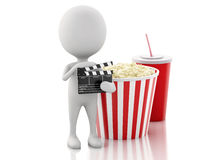 3d white man with clapper board, popcorn and drink. 3d renderer illustration. White man with clapper board, popcorn and drink. cinematography concept on white Royalty Free Stock Photography