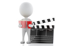 3d white man with clapper board, popcorn and drink. Stock Photo