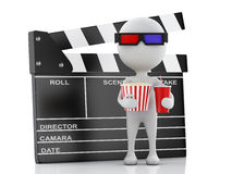 3d white man with clapper board, popcorn and drink. 3d renderer illustration. White man with clapper board, popcorn and drink. cinematography concept on white Royalty Free Stock Photos