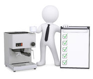 3d white man with coffee machine and checklist Royalty Free Stock Photos