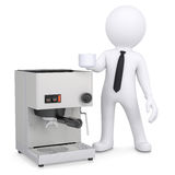 3d white man with a coffee machine Stock Photos