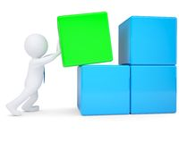 3d white man collects large cube of blocks. 3d white man collects a large cube of blocks.  render on a white background Royalty Free Stock Photo