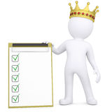 3d white man with a crown holding a checklist. Render on a white background Stock Photo
